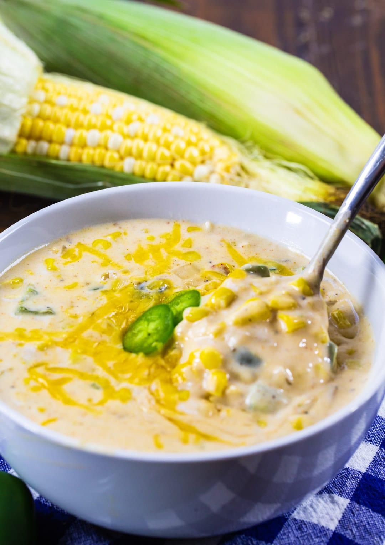 Jalapeno Popper Corn Chowder in a bowl.