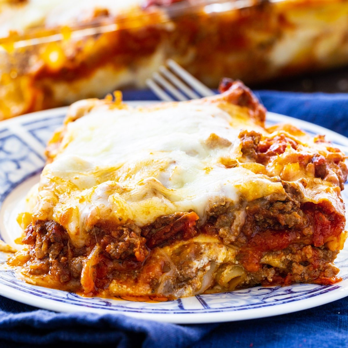 Piece of Make-Ahead Lasagna on a plate.