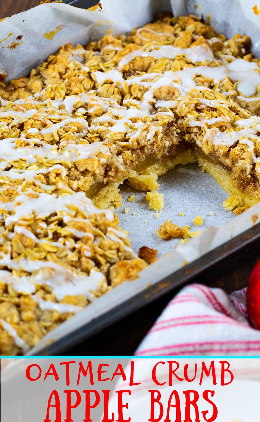Apple Bars in pan with one bar removed.