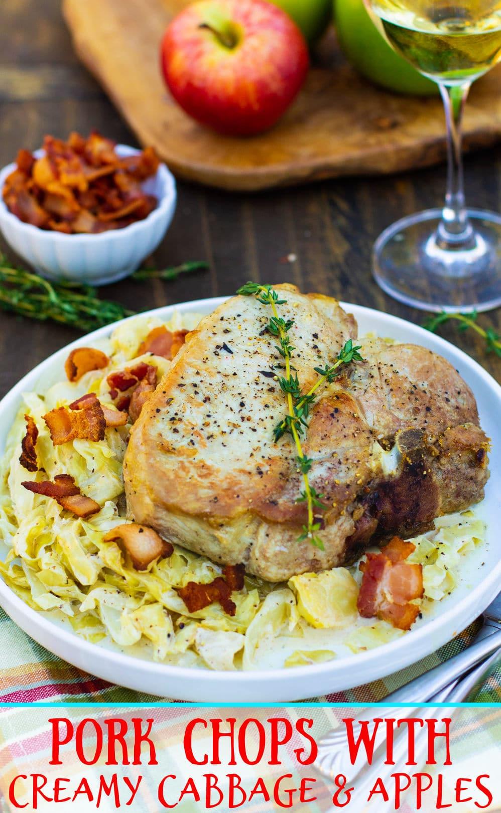 Pork Chop served over creamy cabbage.