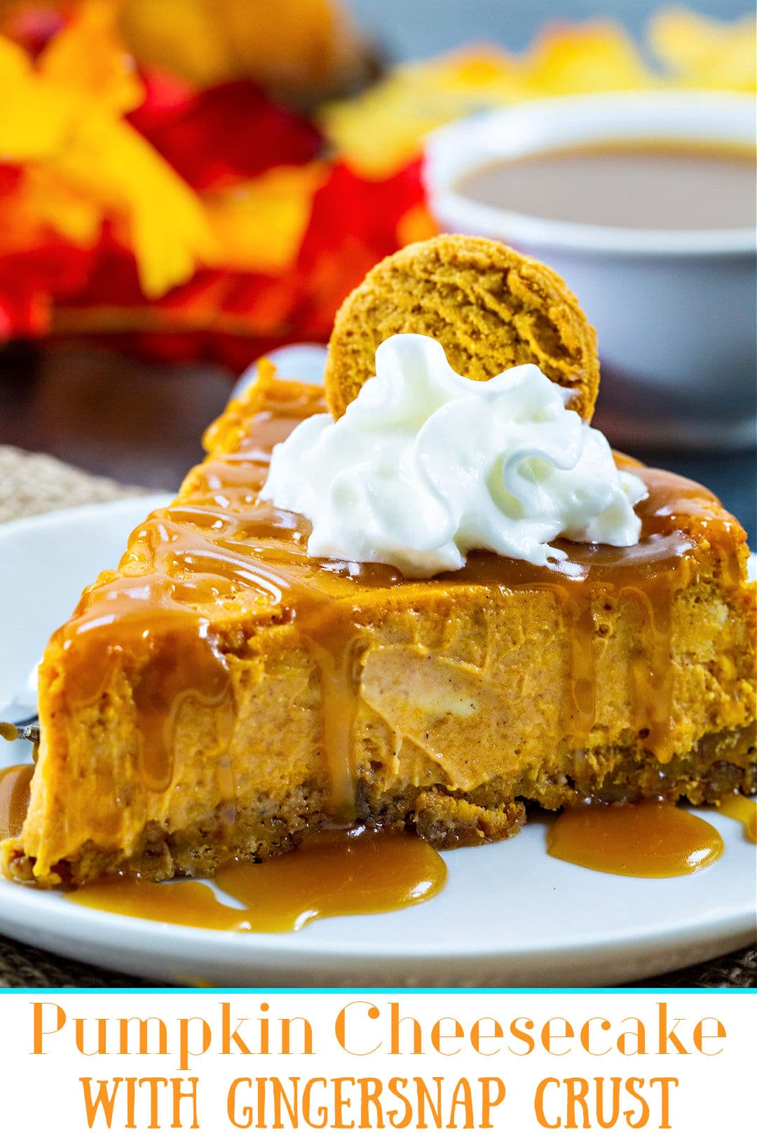 Slice of cheesecake drizzled with caramel sauce and topped with whipped cream.