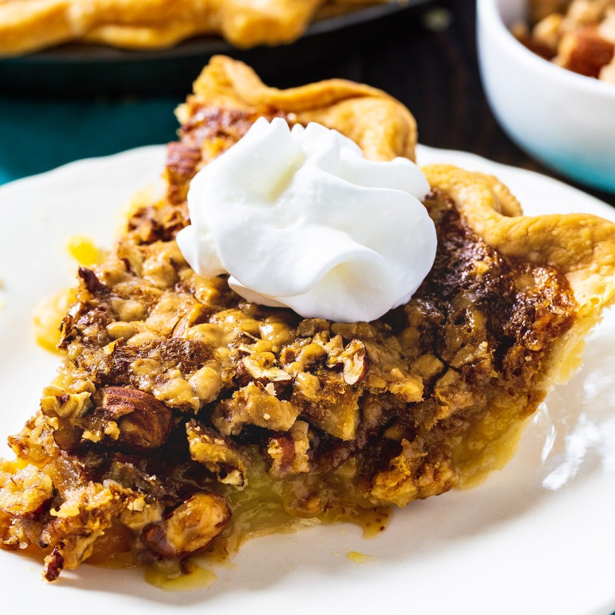 Slice of Toffee Nut Pie on a plate.
