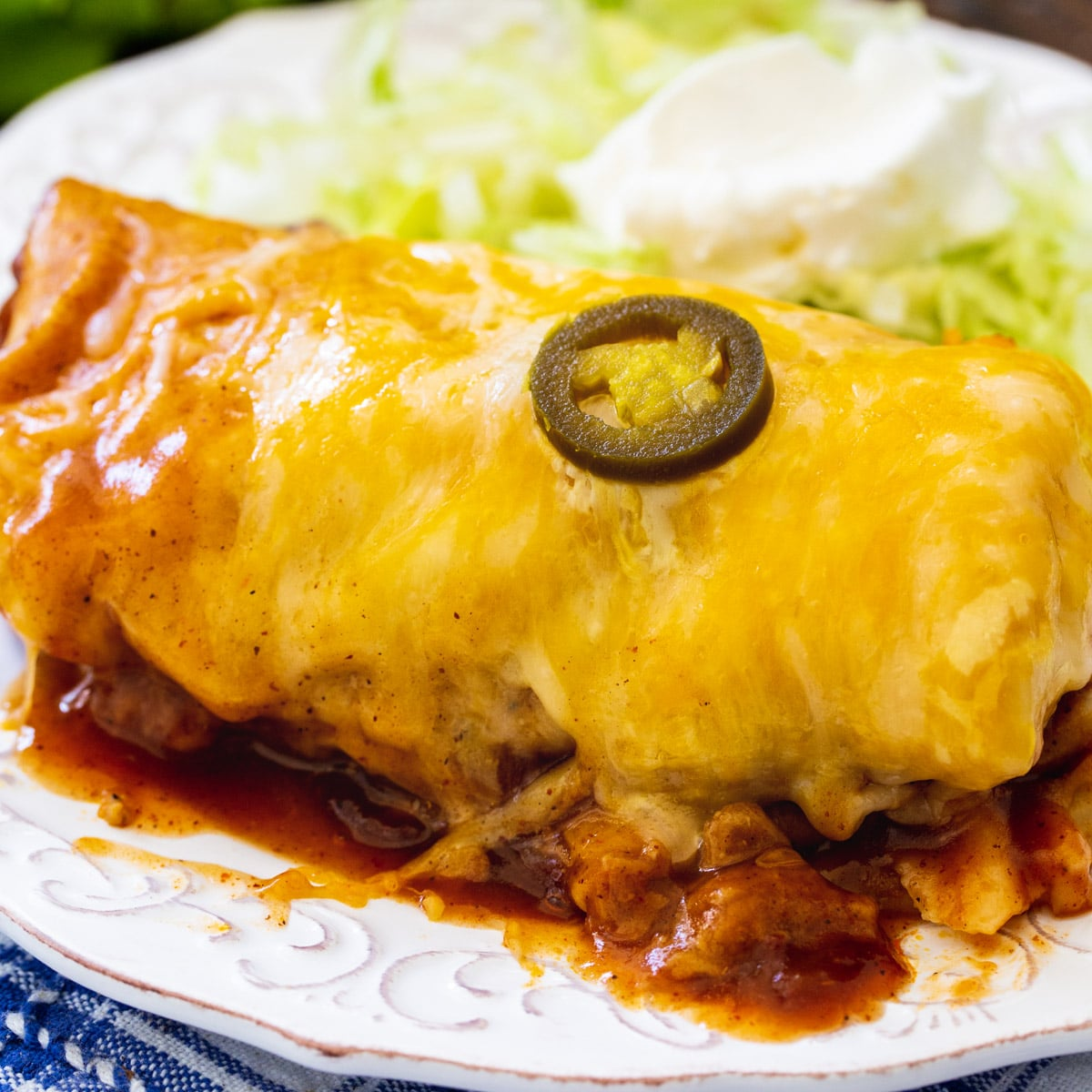 3-Ingredient Smothered Burrito on a plate.