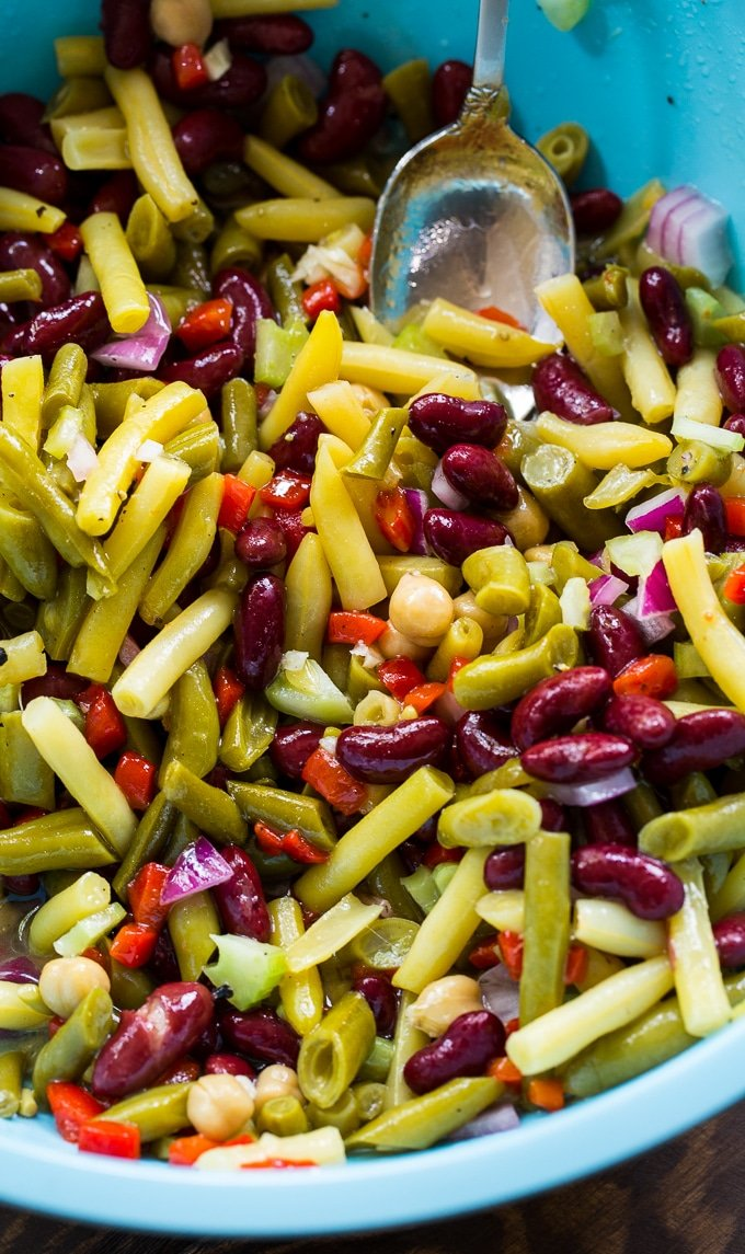 Sweet and Tangy Four Bean Salad for picnics and potlucks.