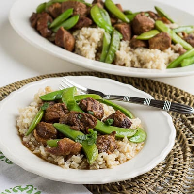 Five Spiced Pork with Sugar Snap Peas served over rice.
