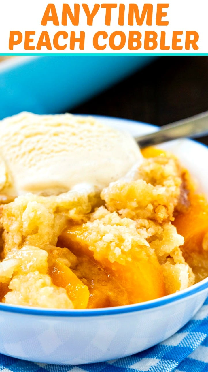 Close-up of Peach Cobbler in a bowl