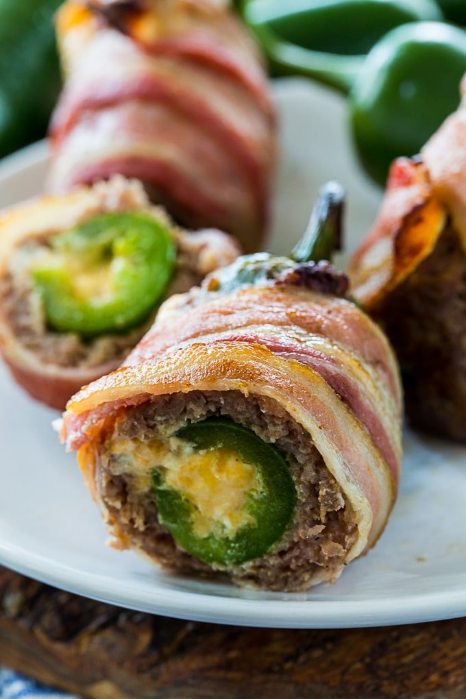 Armadillo Eggs wrapped in bacon