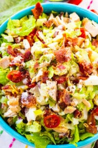 Chopped Cobb Salad in a bright blue bowl.