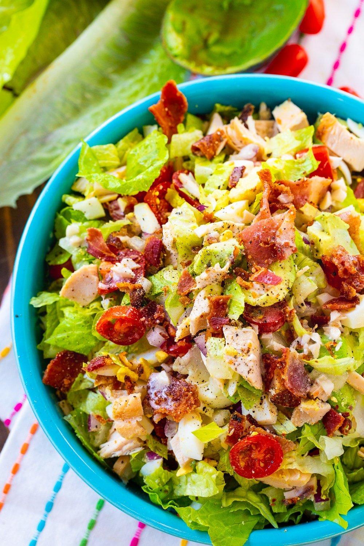 Chopped Cobb Salad in bright blue bowl.