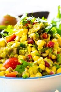 Avocado and Corn Salsa in a bowl.