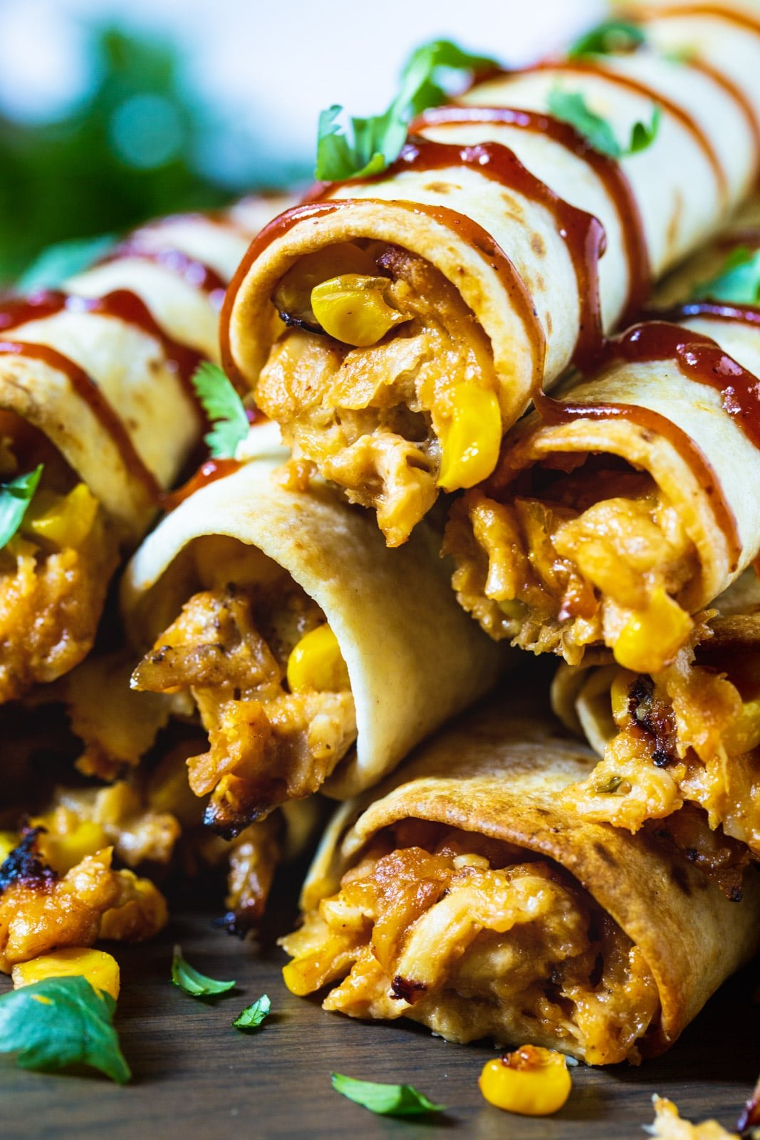 Close-up of BBQ Chicken Taquitos.