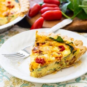 Quiche with Bacon, Spinach and Tomatoes