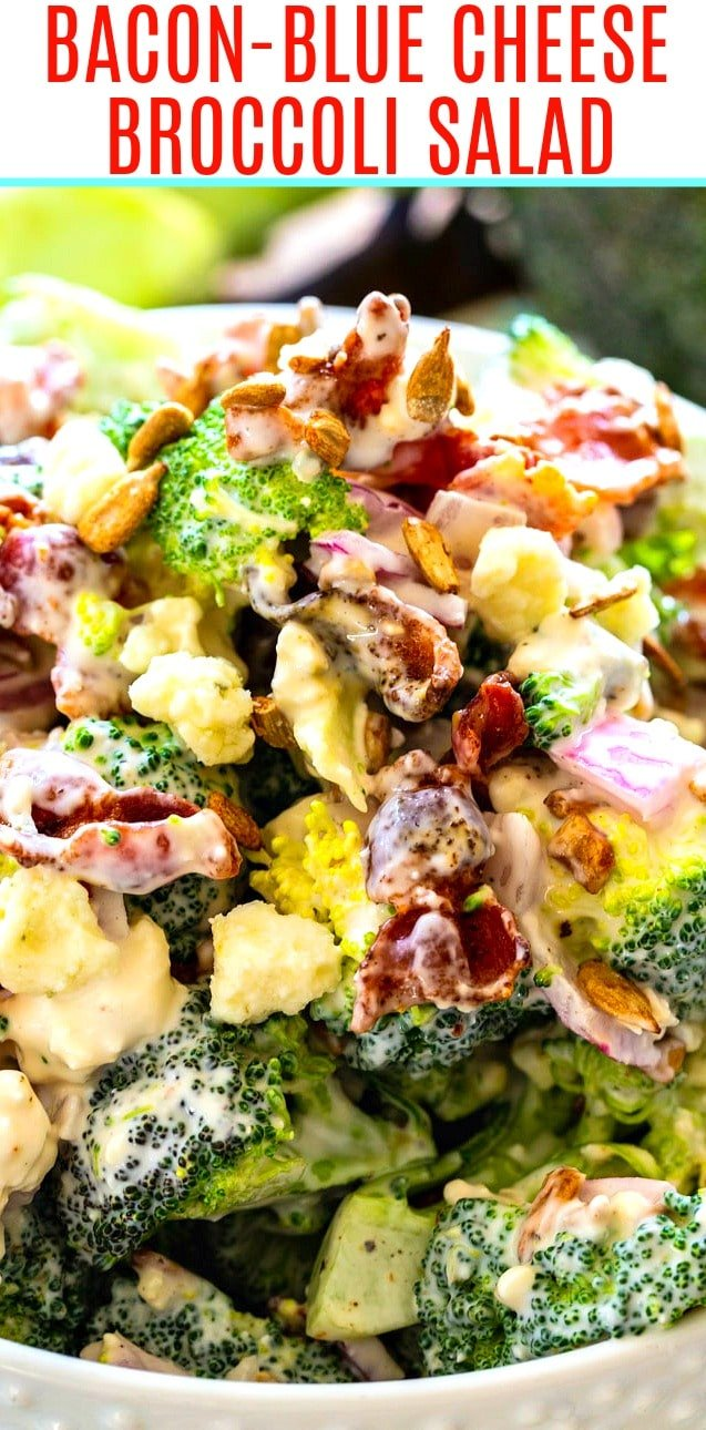 Bacon-Blue Cheese Broccoli Salad close-up