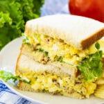 Bacon Egg Salad Sandwich on a plate.