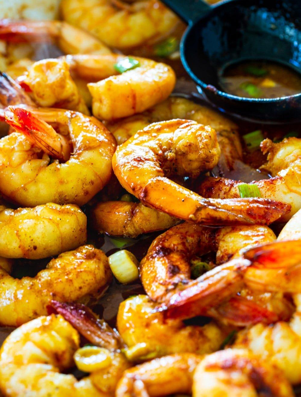 Close-up of Baked Honey Cajun Shrimp.