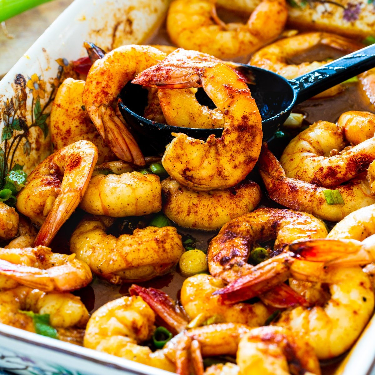 Baked Honey Cajun Shrimp in a baking dish.