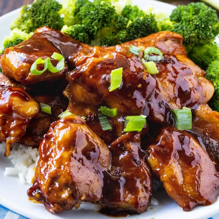 Chicken Teriyaki on a plate with broccoli.