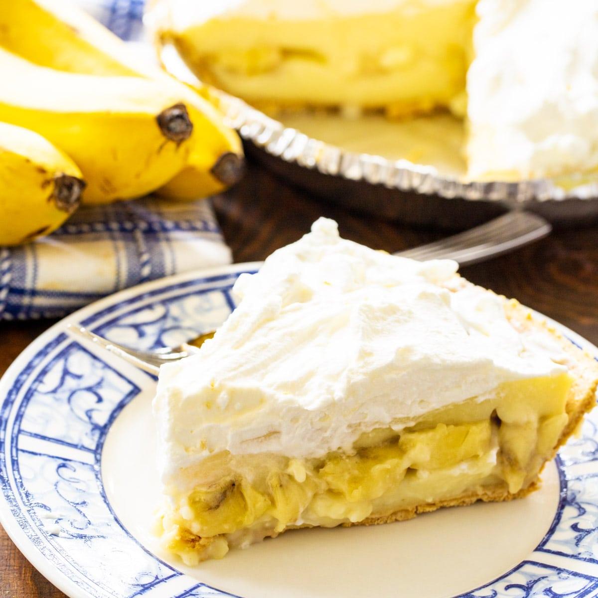Slice of Banana Cream Pie on a plate.