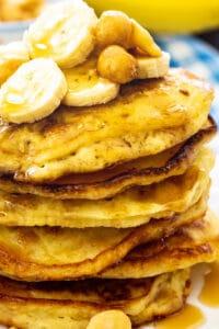 Stack of Banana Macadamia Pancakes.