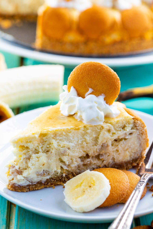 Slice of Banana Pudding Cheesecake on a plate.