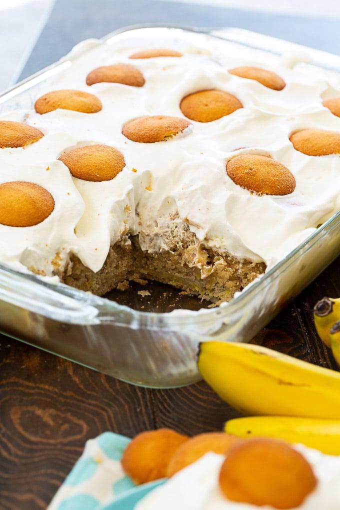 Banana Pudding Poke Cake in a 9x13-inch pan