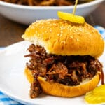 BBQ Beef Sandwich on a plate.