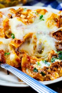 Beef Florentine Casserole dished up on a plate.