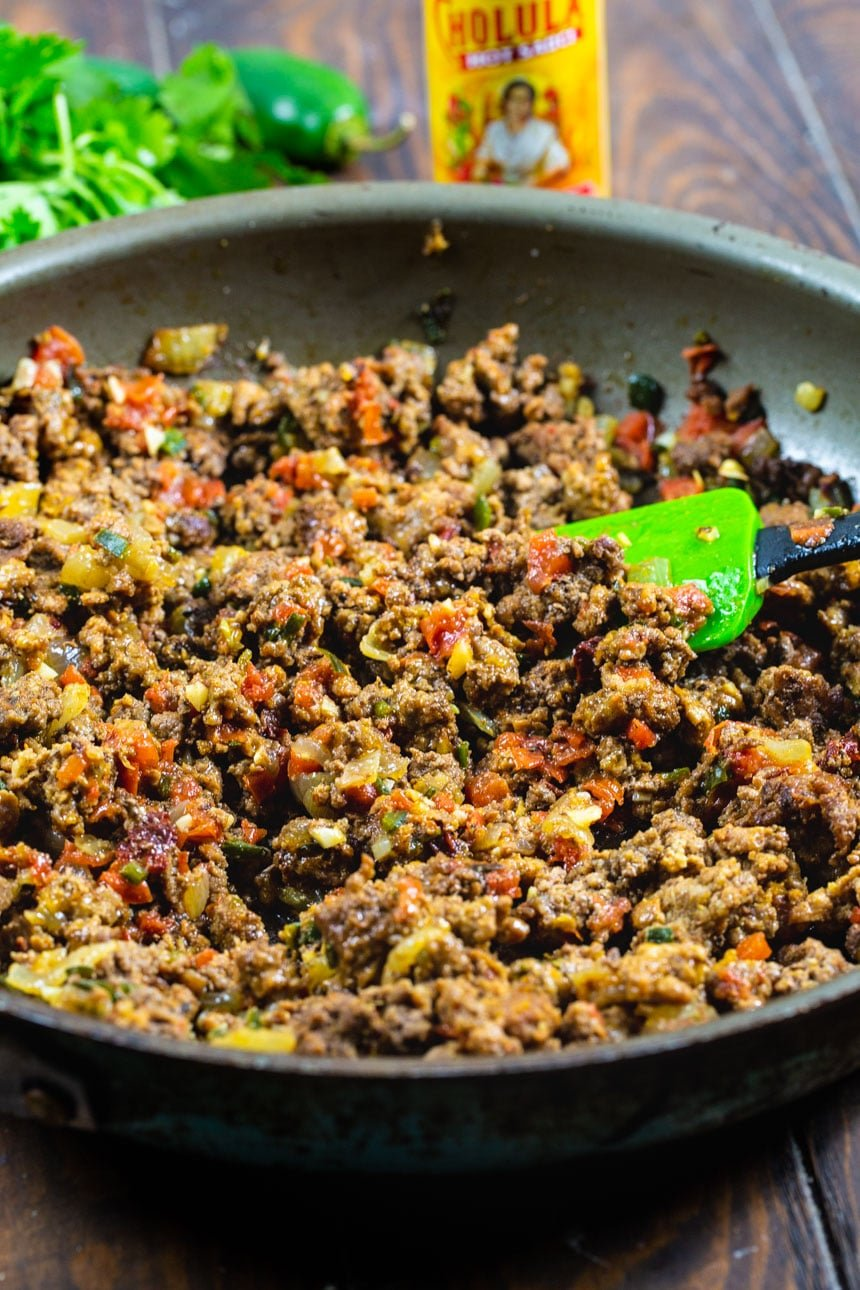 Taco Meat in a skillet.