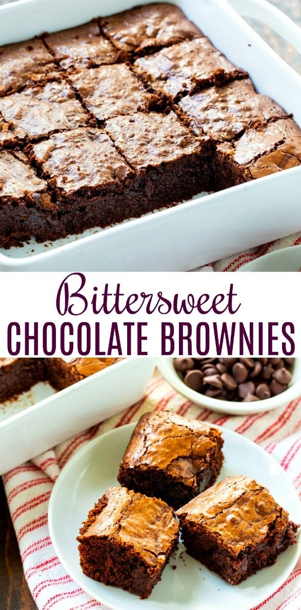 collage picture of Bittersweet Chocolate Brownies