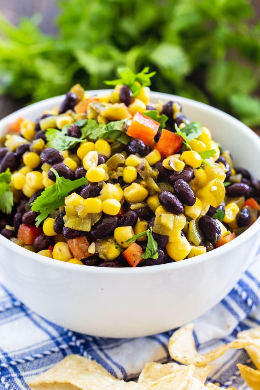 Black Bean and Corn Salsa in a white bowl.