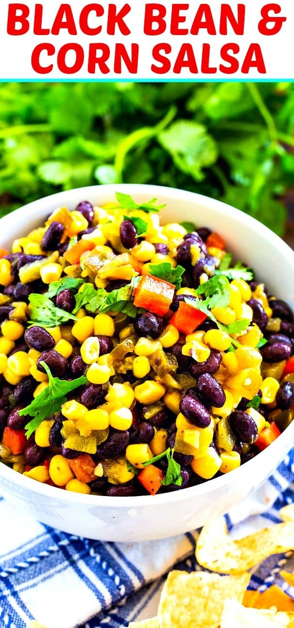 Black Bean and Corn salad with fresh cilantro in background.