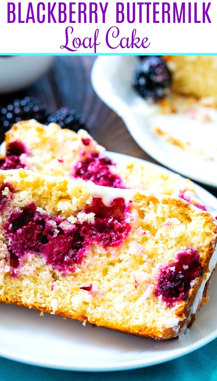 @ slices of Buttermilk Loaf Cake with Blackberries