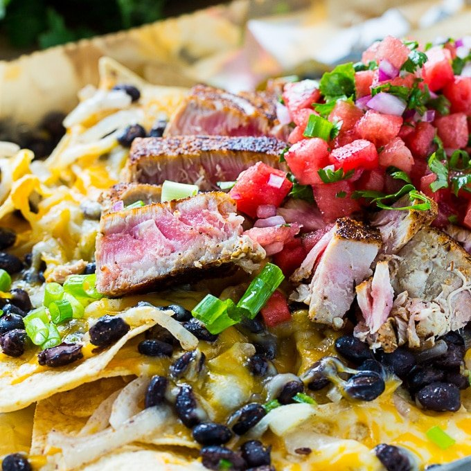 Blackened Tuna Nachos with watermelon Pico de Gallo