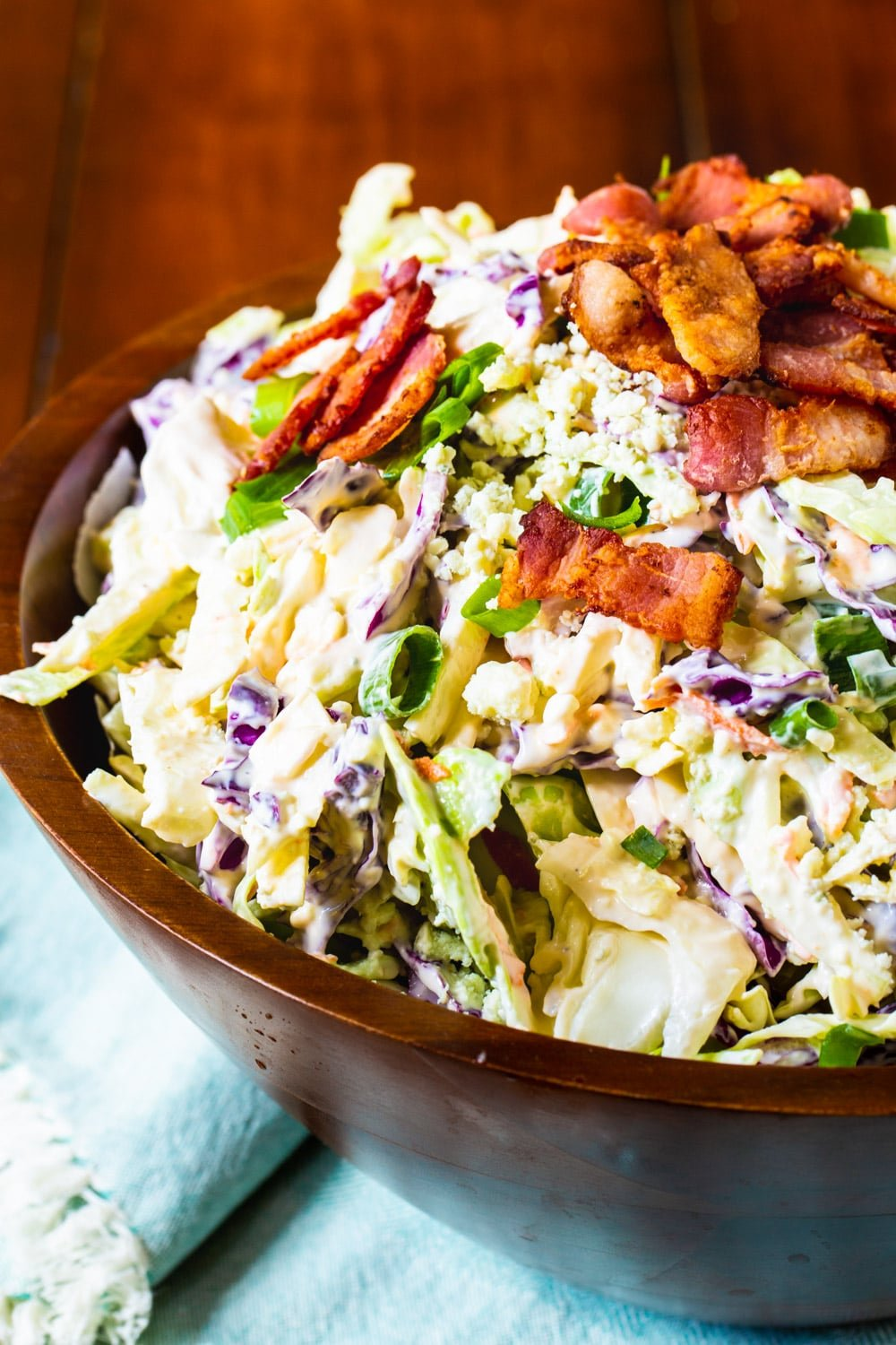 Close-up of Blue Cheese Bacon Coleslaw