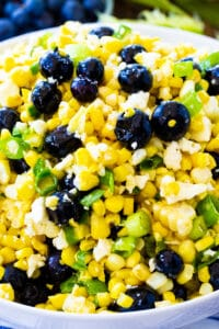Blueberry, Corn, and Feta Salad in a serving bowl.