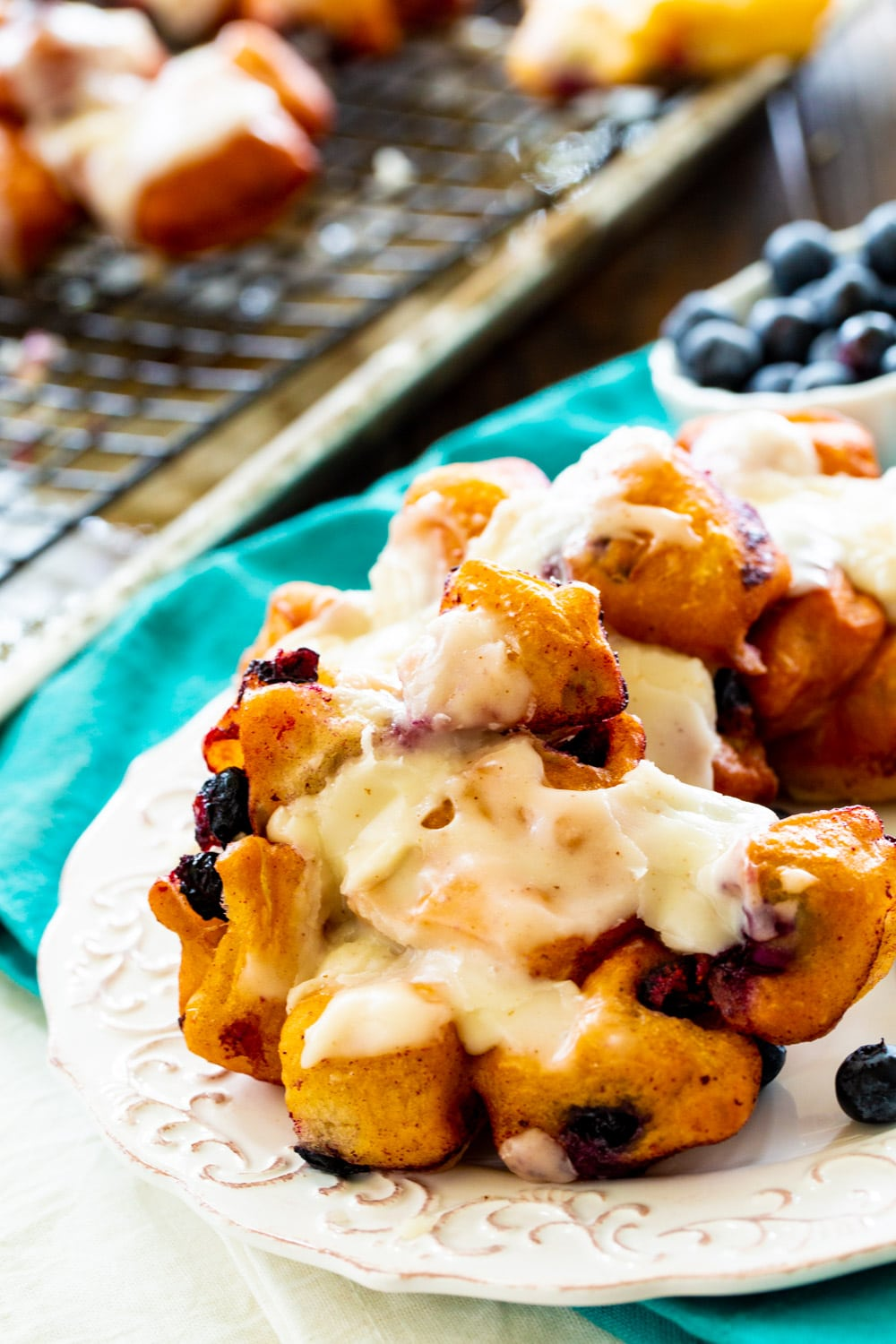 Blueberry Fritters on a plate.
