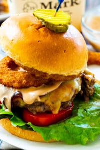 Bourbon BBQ Burgers topped with fried onion rings.