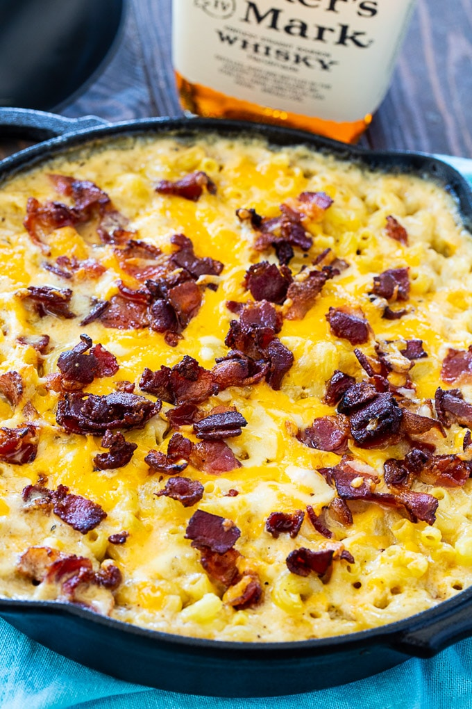 Bourbon and Bacon Mac and Cheese in cast iron pan