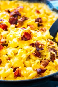 Bourbon and Bacon Mac and Cheese in a cast iron pan.