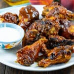 Bourbon Peach BBQ Wings on a plate.