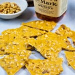 Pieces of Peanut Brittle with bourbon.