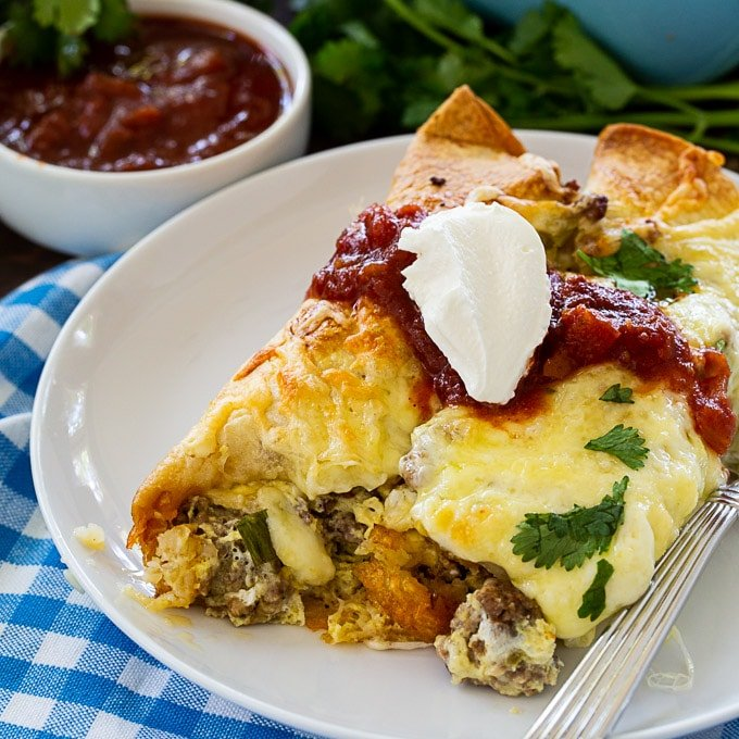 Breakfast Enchiladas with spicy sausage