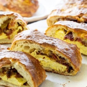 Stromboli filled with eggs, bacon and cheese.