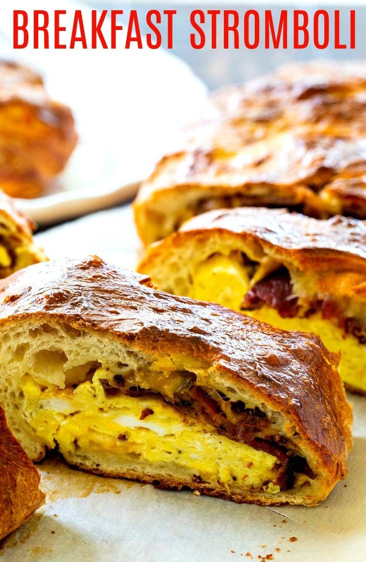 Close-up of Breakfast Stromboli