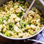 Broccoli Alfredo Tortellini in a large pot.
