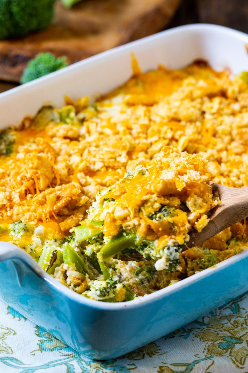 Southern Broccoli Casserole in a baking dish.