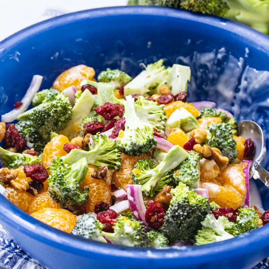 Mandarin Broccoli Salad in a blue serving bowl.