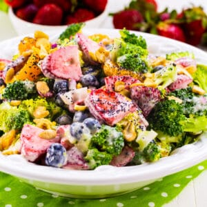 Broccoli Starwberry Salad in a serving bowl.
