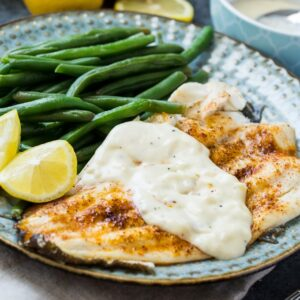 Broiled Flounder with Lemon Cream Sauce