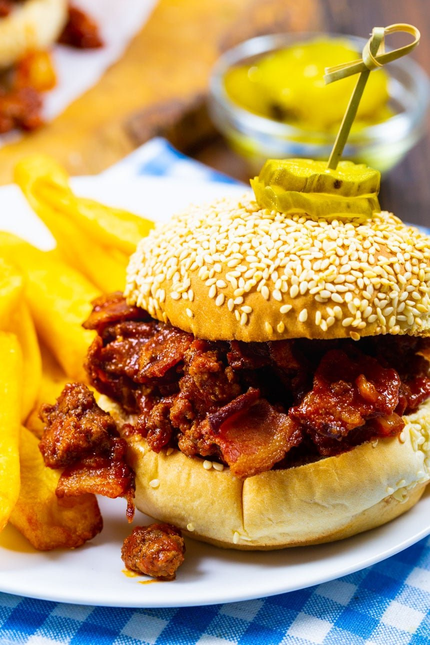 Sloppy Joe on a plate with fries.